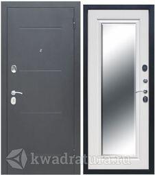 Входная дверь Феррони Гарда 7,5 см Зеркло фацет Серебро/Белый ясень