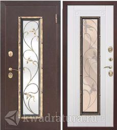 Входная металлическая дверь со стеклопакетом Плющ Медный антик/Белый ясень