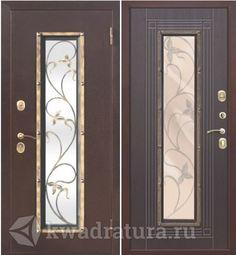 Входная металлическая дверь со стеклопакетом Плющ Медный антик/Венге