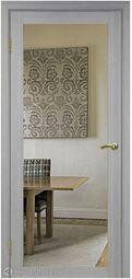 Межкомнатная дверь OPorte Турин 501.1 Зеркало/Лакобель белое Дуб серый