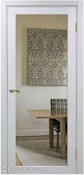 Межкомнатная дверь OPorte Турин 501.1 Зеркало/Лакобель белое Белый монохром