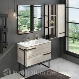 Комплект мебели для ванной Comforty Дюссельдорф 90 дуб дымчатый