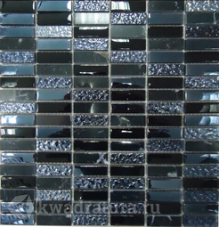 Мозаика стеклянная c камнем Bonaparte Super Line black 30х30