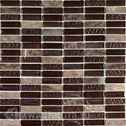 Мозаика стеклянная c камнем Bonaparte Super Line brown 30х30