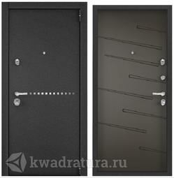 Дверь входная стальная Торэкс Super Омега 100 Черный муар металлик RP10/ПВХ молочный шоколад SO-HT-2