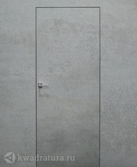 Скрытая дверь невидимка Invisible Бетон платина с алюминиевой черной кромкой в Ростове-на-Дону