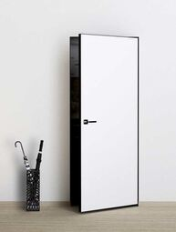 Скрытая дверь невидимка Invisible под покраску с алюминиевой черной кромкой